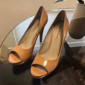 Nude Patent Leather Vera Wang Peep-toe Pumps